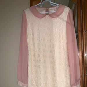 Altar'd State Lace Dress pink long sleeves.